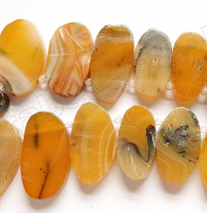 Amber Sardonix Agate w/ Black   Graduated Top Drilled Ovals  17""
