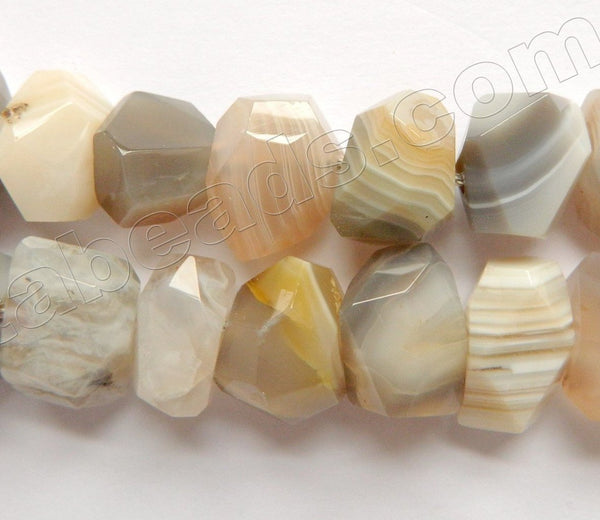 Light Warm Botswana Agate AA  -  Machine Cut Center Drilled Nuggets 16""
