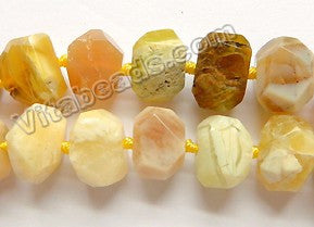 Yellow Opal AA  -  Machine Cut Center Drilled Nuggets 16""