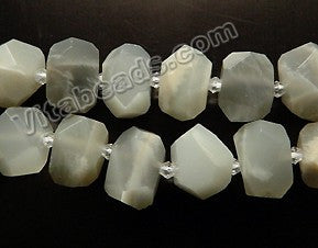 Grey Moonstone Natural AA -  Machine Cut Center Drilled Nuggets 16""