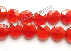 "Carnelian Natural AAA  -  Faceted Coin 16""    10 x 10 x 4 mm"
