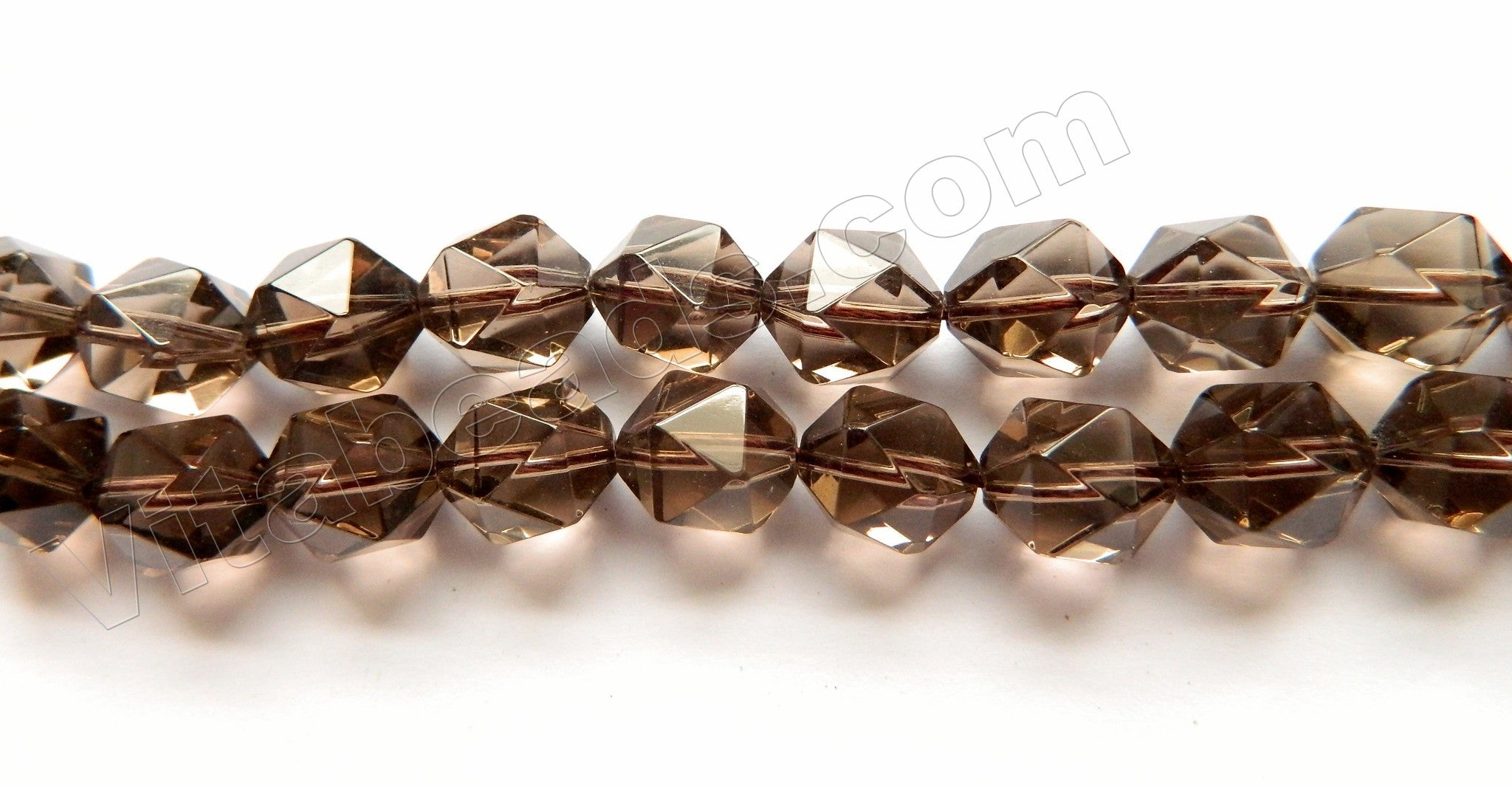 Smoky Topaz Natural AAA  -  Diamond Cut Round  16""