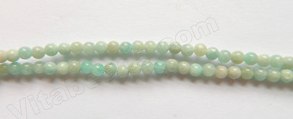 "Pale Russia Amazonite A  -  Small Smooth Round Beads  15""     3-4mm"