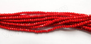 "Dark Red Coral Quartz  -  Small Faceted Rondel  18""     3 x 2 mm"