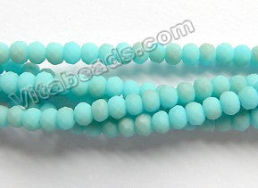 Frosted Turquoise Blue Brown Mixed Qtz  -  Faceted Rondel  15""