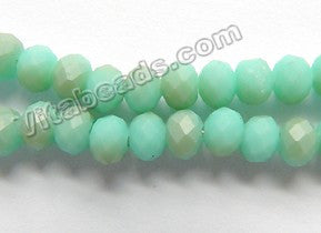 Frosted Turquoise Green Brown Mixed Qtz  -  6mm Faceted Rondel  16""