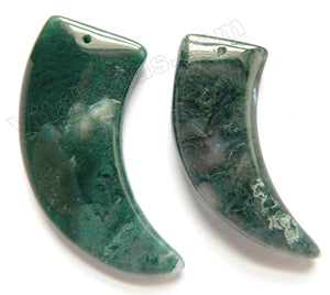 Moss Agate  -  Smooth Horn Pendant
