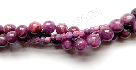 Lepidolite Red A  -  Smooth Round  16""