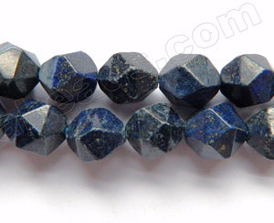 Dark Lapis Lazuli  -  Diamond Cut Faceted Round  15""