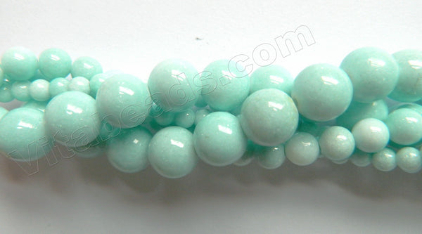 Light Aqua TQ Mashan Jade Solid  -  Smooth Round Beads  16""