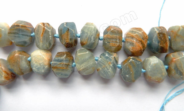 "Dark Aquamarine w Brown AB  -  Machine Cut Rondel Tumble w/ Spacer  16""   12 x 18 x 12 mm"