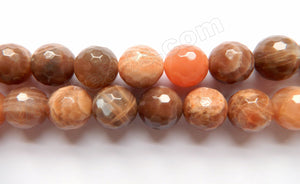 Red Moonstone Dark A  -  Faceted Round  16""