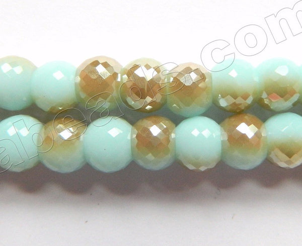 Rainbow Qtz  Turquoise Brown  -  8x6mm Faceted Drum 9""