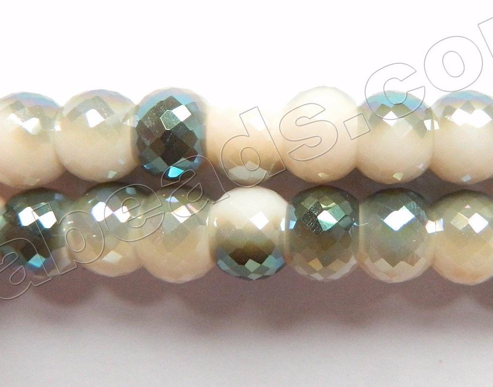 Rainbow Qtz  Moss Ivory  -  8x6mm Faceted Drum 9""