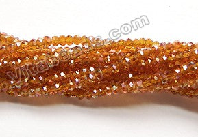 AB Coated Amber Crystal Quartz  -  Small Faceted Rondel  15""
