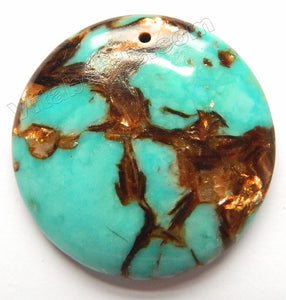 Pendant - Smooth Round Bronzite Turquoise - 40mm Top Center Drilled