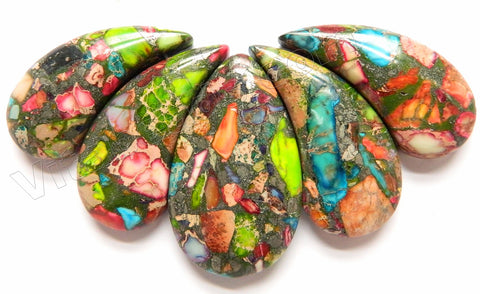 Rainbow Prase Pyrite Impression Jasper 5pc Big Petal Pendant Set