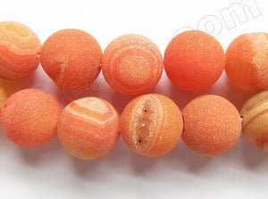 Frosted Orange Agate w/ Druzy Crystal  -  Smooth Round Beads  16""