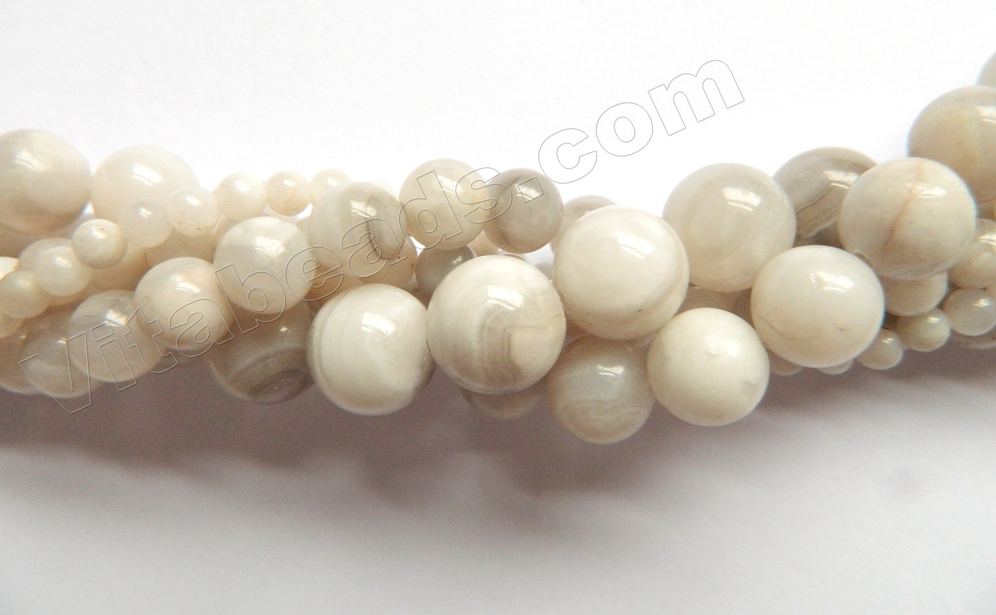 """White Crazy Lace Agate A  -  Smooth Round   15"""""""