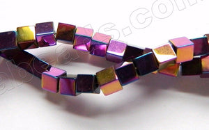 Plated Purple Peacock Hematite  -  Small Cubes  16""