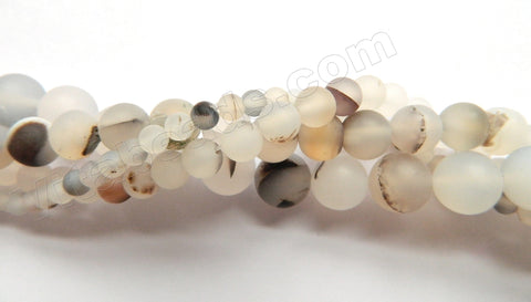 Frosted Natural White Agate w/ Black  -  Smooth Round  16""