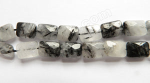 "Black Rutilated Quartz Natural A  -  Faceted Rectangles 16""    10 x 14 x 6 mm"