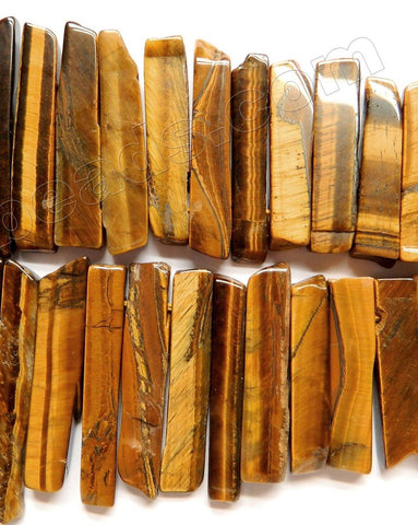"Tiger Eye AA  -  Graduated Top-drilled Long Rectangle Slabs  16""  8 x 20 - 60 mm"