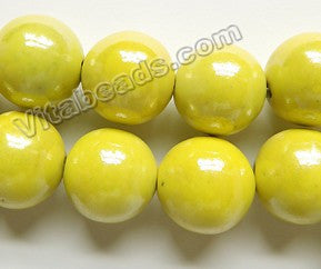 Porcelain Beads - Plated Lemon Yellow -   Big Smooth Round Beads  16""