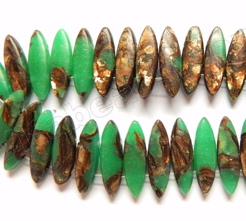 Bright Green Stone, Bronzite Mixed Jasper  -  Double Drilled Marquise  7""