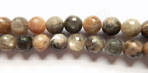 Dark Grey Red Moonstone  -  Faceted Round 15""