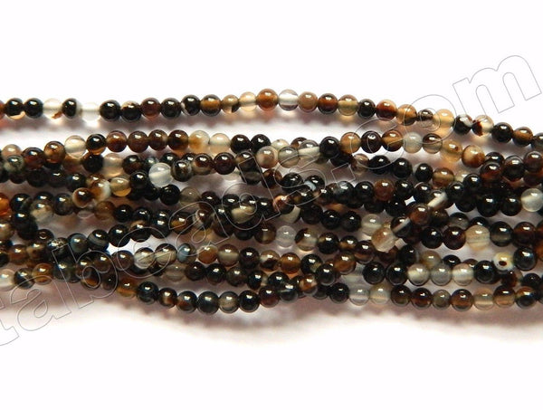 "Black Sardonix Agate AAA  -  Small Smooth Round Beads   16""     2mm"