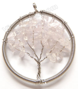Crystal - Chips Wired Tree Round Pendant