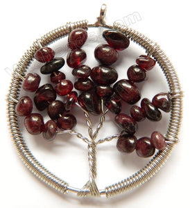 Garnet - Chips Wired Tree Round Pendant