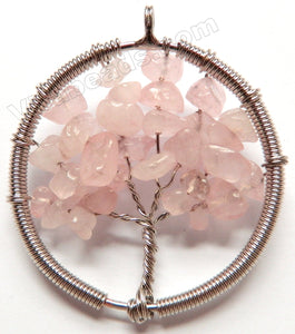 Rose Quartz - Chips Wired Tree Round Pendant