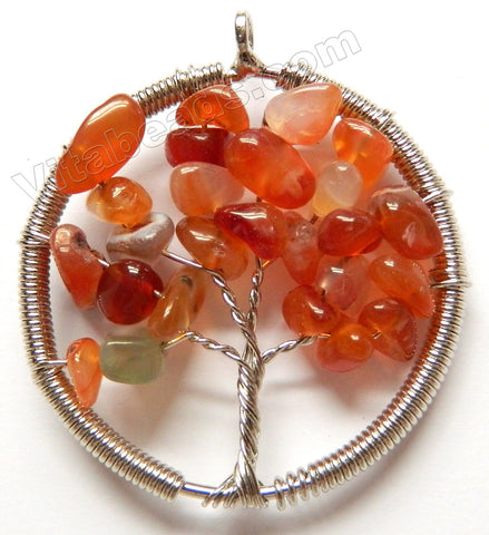 Carnelian - Chips Wired Tree Round Pendant