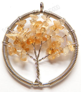 Citrine - Chips Wired Tree Round Pendant