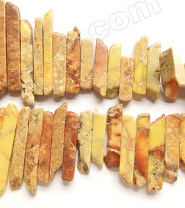Light Yellow Brown Impression Jasper  -  Graduated Top-drilled Long Rectangle Slabs  16""