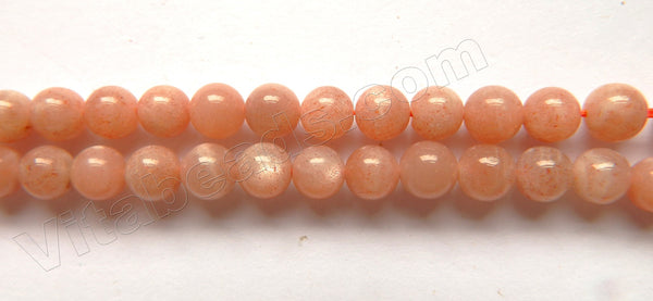 "Sunstone Natural A  -  Smooth Round Beads  15""      6mm"