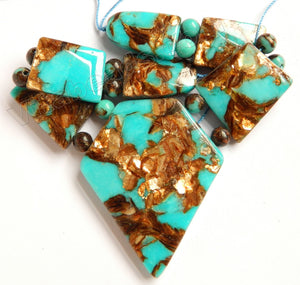 Mixed Bronze Blue Turquoise Jasper   7 pieces Smooth Slab Pendant Set