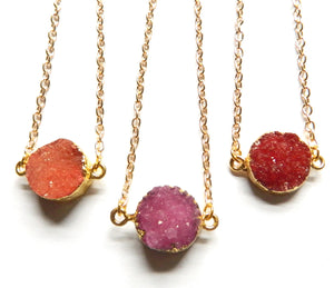 Druzy Crystal Coin Pendant w/ Gold Chain 19""