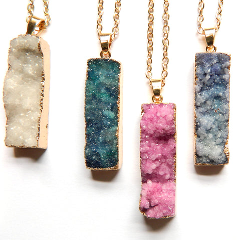 Druzy Crystal Long Rectangle Pendant w/ Gold Chain 19""