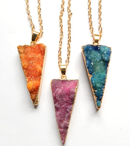 Druzy Crystal Triangle Pendant w/ Gold Chain 19""