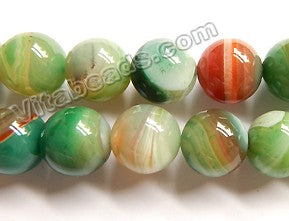 Green Red Mixed Sardonix Agate  -  Smooth Round Beads  16""