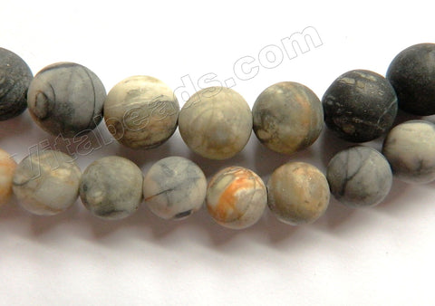 Frosted Light Picasso Jasper  -  Smooth Round Beads  16""