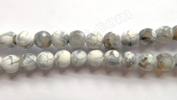 Frosted White Fire Agate  -  Smooth Round Beads  16""