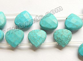 Blue Cracked Turquoise  -  Faceted Flat Briolette  15""