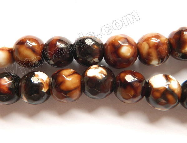 Dark Coffee Fire Agate  -  Faceted Round Beads  14""
