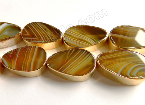 Brown Sardonix Agate  -  Gold Edged Thick Flat Drops  13""