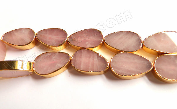 Rose Quartz  -  Gold Edged Thick Flat Drops  13""