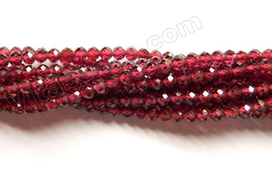 Garnet AAA  -  Small Faceted Round Beads  16""